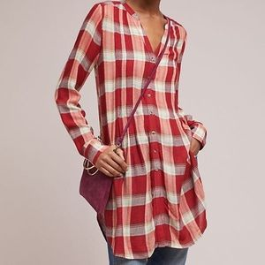 Anthropologie NWT Red Plaid Tunic Top by Akemi+Kin